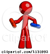 Red Design Mascot Man Red Pill Or Blue Pill Concept