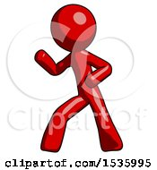 Red Design Mascot Man Martial Arts Defense Pose Left