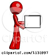 Red Design Mascot Woman Show Tablet Device Computer To Viewer Blank Area