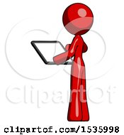 Red Design Mascot Woman Looking At Tablet Device Computer With Back To Viewer