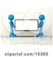 Two Blue Figures Holding Up A Blank Sign Ready For An Advertisment Clipart Illustration Image