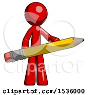 Red Design Mascot Man Writer Or Blogger Holding Large Pencil