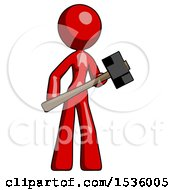 Red Design Mascot Woman With Sledgehammer Standing Ready To Work Or Defend