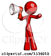 Red Design Mascot Woman Shouting Into Megaphone Bullhorn Facing Left