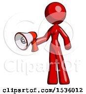 Red Design Mascot Woman Holding Megaphone Bullhorn Facing Right