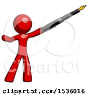 Red Design Mascot Man Pen Is Mightier Than The Sword Calligraphy Pose