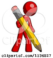 Red Design Mascot Woman Drawing With Large Pencil