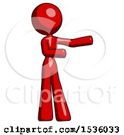 Red Design Mascot Woman Presenting Something To Her Left