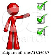 Red Design Mascot Woman Standing By A Checkmark List Arm Extended