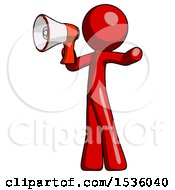 Red Design Mascot Man Shouting Into Megaphone Bullhorn Facing Left