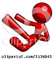 Red Design Mascot Woman Flying Ninja Kick Left