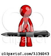 Red Design Mascot Woman Lifting A Giant Pen Like Weights