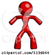 Red Design Mascot Woman Sumo Wrestling Power Pose