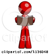 Poster, Art Print Of Red Design Mascot Man Reading Book While Standing Up Facing Viewer
