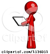 Red Design Mascot Man Looking At Tablet Device Computer With Back To Viewer