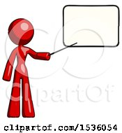 Red Design Mascot Woman Pointing At Dry Erase Board With Stick Giving Presentation