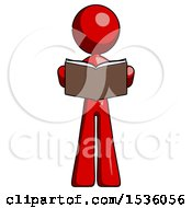 Red Design Mascot Woman Reading Book While Standing Up Facing Viewer