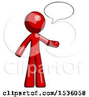 Red Design Mascot Man With Word Bubble Talking Chat Icon