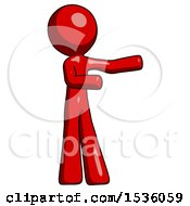 Red Design Mascot Man Presenting Something To His Left