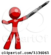 Red Design Mascot Man Demonstrating That Indeed The Pen Is Mightier