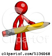 Red Design Mascot Woman Office Worker Or Writer Holding A Giant Pencil