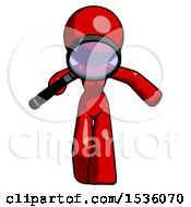 Red Design Mascot Woman Looking Down Through Magnifying Glass
