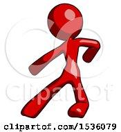 Red Design Mascot Woman Karate Defense Pose Left