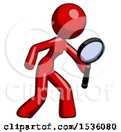 Red Design Mascot Woman Inspecting With Large Magnifying Glass Right