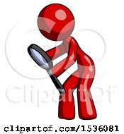 Red Design Mascot Woman Inspecting With Large Magnifying Glass Left