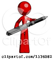 Red Design Mascot Woman Posing Confidently With Giant Pen