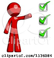 Red Design Mascot Man Standing By List Of Checkmarks