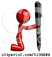 Red Design Mascot Woman Posing With Giant Pen In Powerful Yet Awkward Manner Because Funny