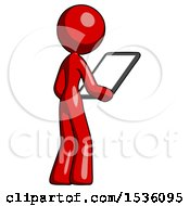 Red Design Mascot Woman Looking At Tablet Device Computer Facing Away