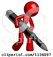 Red Design Mascot Woman Writing With A Huge Pen