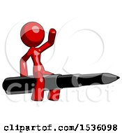 Red Design Mascot Woman Riding A Pen Like A Giant Rocket