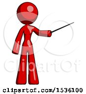 Red Design Mascot Woman Teacher Or Conductor With Stick Or Baton Directing