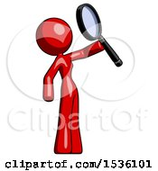 Red Design Mascot Woman Inspecting With Large Magnifying Glass Facing Up