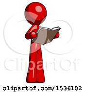 Red Design Mascot Man Reading Book While Standing Up Facing Away