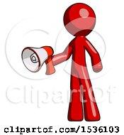 Red Design Mascot Man Holding Megaphone Bullhorn Facing Right