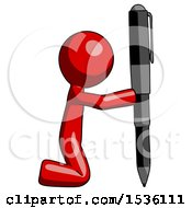 Red Design Mascot Man Posing With Giant Pen In Powerful Yet Awkward Manner