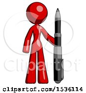 Red Design Mascot Woman Holding Large Pen