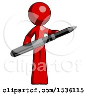 Red Design Mascot Man Posing Confidently With Giant Pen