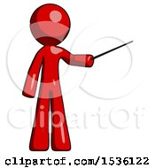 Red Design Mascot Man Teacher Or Conductor With Stick Or Baton Directing