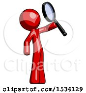 Red Design Mascot Man Inspecting With Large Magnifying Glass Facing Up