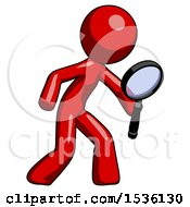 Red Design Mascot Man Inspecting With Large Magnifying Glass Right