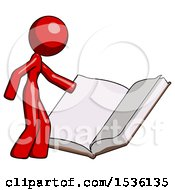 Red Design Mascot Woman Reading Big Book While Standing Beside It