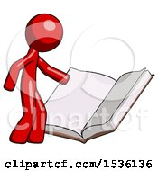 Red Design Mascot Man Reading Big Book While Standing Beside It