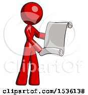 Red Design Mascot Woman Holding Blueprints Or Scroll