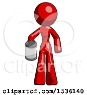 Red Design Mascot Woman Begger Holding Can Begging Or Asking For Charity