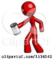 Red Design Mascot Woman Begger Holding Can Begging Or Asking For Charity Facing Left